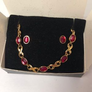 Avon Ruby Red Bracelet & Earring Set